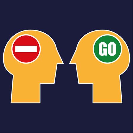 Twee gestileerde menselijke hoofden tegenover elkaar met Stop and Go verkeersborden in het hersengebied