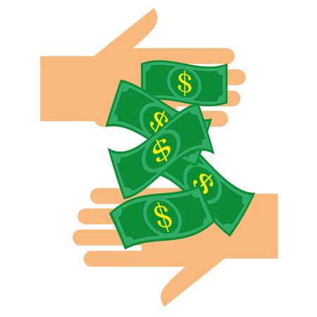pagando: El pago y ganar dinero concepto con billetes de dólar estilizado que pasan entre dos manos Vectores