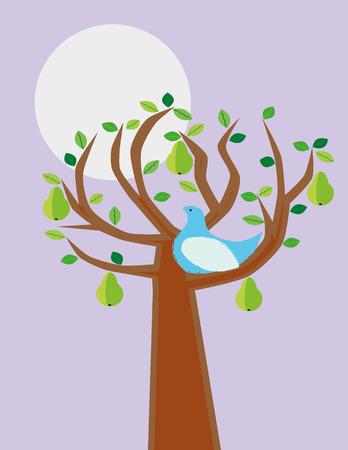 kuropatwa: Stylizowana kuropatwa ptak gruszą jako ilustracja tego wersetu ze znanej kolędy