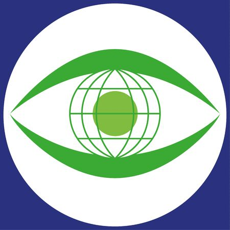 pupil: illustration of a human eye shape with the iris and pupil rendered as a green globe symbol of the Earth Illustration