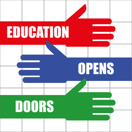 achiever: Stylized arms with open hands and the words Education Opens Doors added in white text