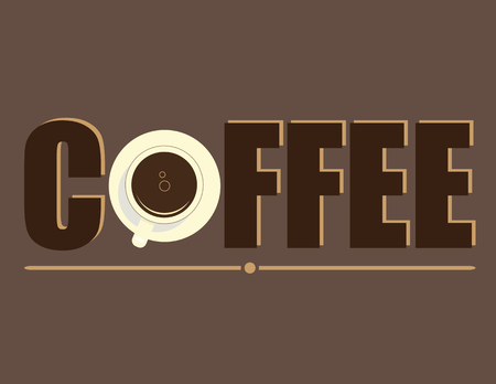 color palette: The word Coffee with the second letter represented as a cup and saucer of black coffee in complimentary brown color palette