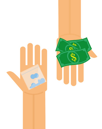 drug deals: illustration of a hand holding money and another hand holding a plastic bag of pills to represent a transaction of drugs or medicine