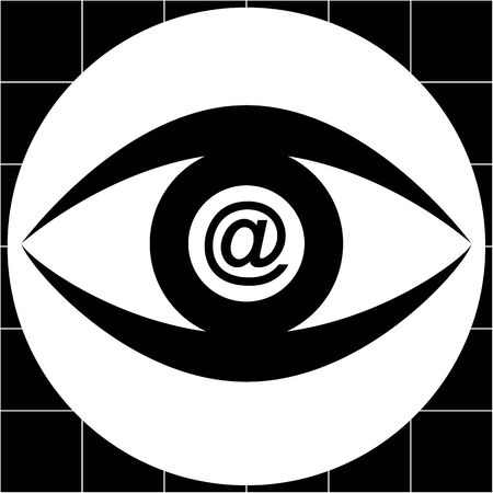messaging: Stylized human eye with the pupil represented by the AT or email symbol in a black and white palette
