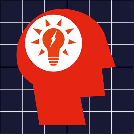 pensamiento estrategico: cabeza humana estilizada en perfil con una bombilla el�ctrica iluminada en el �rea del cerebro como concepto para poder, energ�a e ideas Vectores