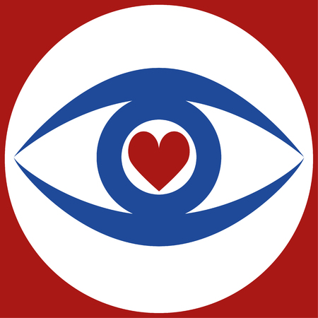 blue eye: Stylized human eye in blue with a red heart shape in the pupil area Illustration