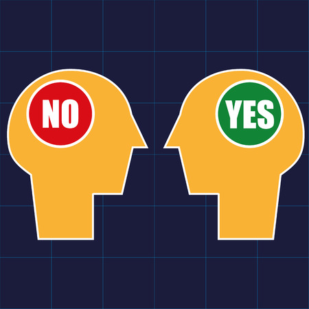 breakdown: Two human heads in profile with opposing views in the form of YES and NO signs in the brain area Illustration