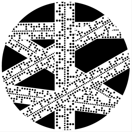 telegraph: Illustration of strips of overlapping paper containing Baudot Code as used in telegraph communications in a black circle