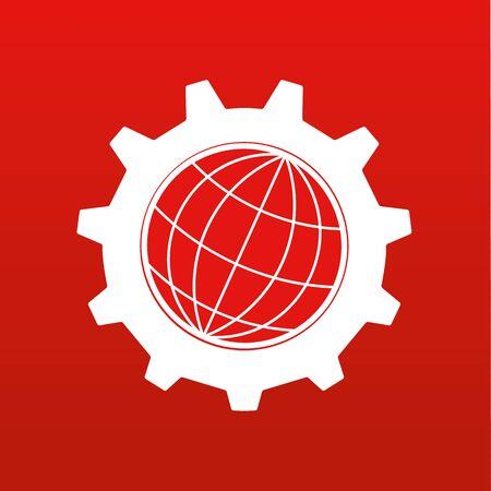 globe stylisé de la Terre à l'intérieur d'un engrenage ou dentée en blanc sur un fond rouge