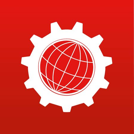 earth globe: Stylized globe of the Earth inside a gear or cog in white on a red background