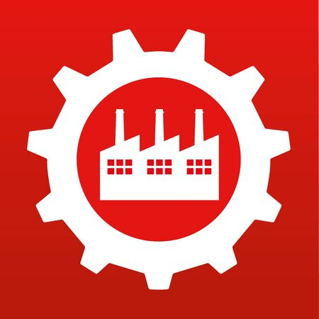 cog gear: Gear or Cog wheel with a stylized factory building in the centre in white on red background Illustration