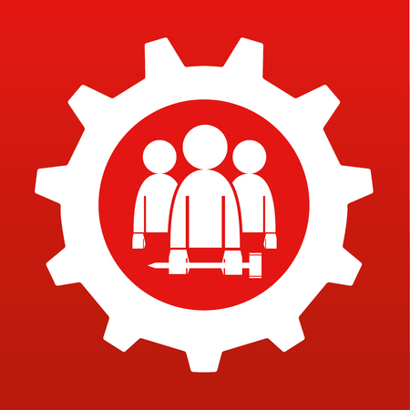 cog wheel: Gear or Cog wheel with stylized figures carrying tools to represent the workers or employees in white on red