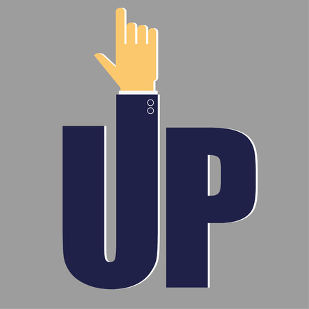 a word: The word UP with the letter U represented by the arm and hand of a businessman pointing upwards