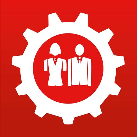 woman male: Male and female business people at the center of a gear or cog wheel in red and white Illustration