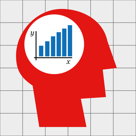 aspirational: Stylized human head in profile with a bar chart depicting growth in the brain area