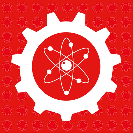 gear icon: Gear or cog wheel with the atomics symbol at the centre in red and white Illustration