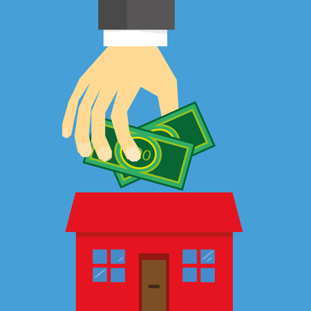 securing: A hand holding money above a stylized house as a concept for property investment or securing a mortgage
