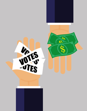 purchasing power: Two hands pass money for votes to each other as a concept for corruption in elections and politics