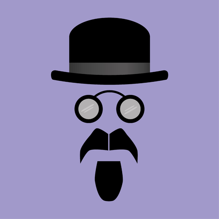 bowler hat: Facial features of a goatee beard and vintage spectacles beneath a bowler hat