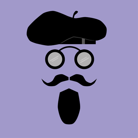 comprising: Facial Features comprising a mustache, goatee beard and vintage round spectacles below a stylish beret hat Illustration