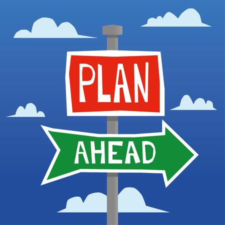 Rode en groene straatnaam of verkeersborden in een hand getrokken stijl tegen een helder blauwe hemel met de woorden vooruit plannen toegevoegd in witte tekst