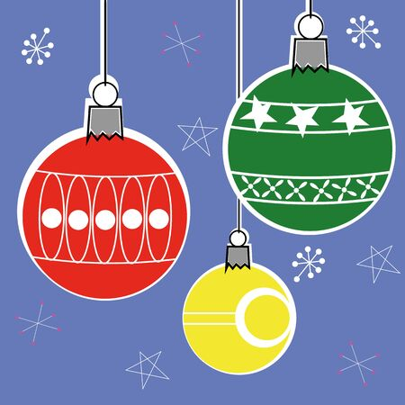 offset: Christmas bauble decorations in a retro style with offset colors hanging i front of a patterned background Illustration