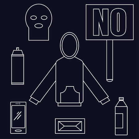 aerosol can: All you need to be a protester items laid out in a flat style include a hoodie, aerosol can, smartphone and placard