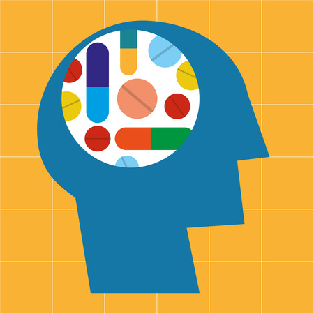 pharmaceuticals: Stylized human head in profile with various drugs and pharmaceuticals arranged in a colorful pattern in the brain area