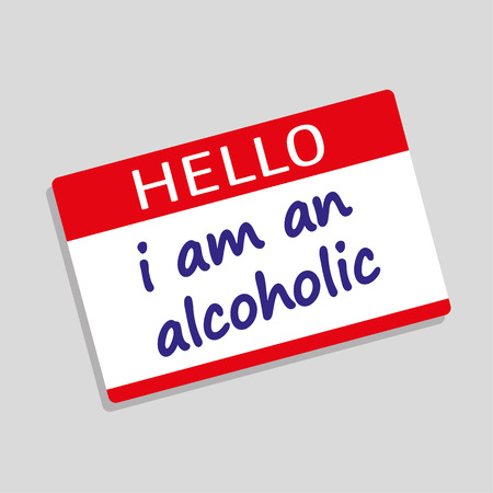 visitor: Hello My Name Is badge or visitor pass with the words I Am An Alcoholic added in blue text Illustration