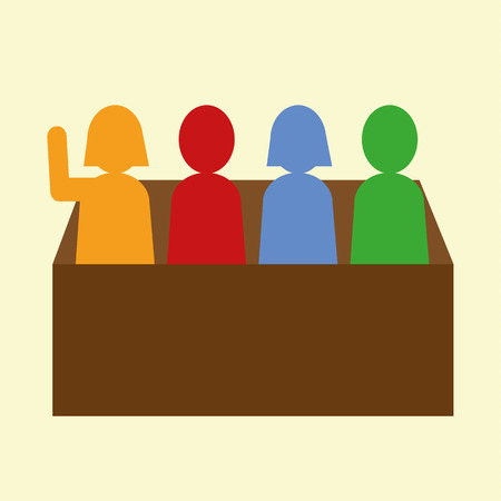 solver: Group of male and female figures in a box or panel with one figure raising a hand to answer a question in school or on a quiz team Illustration