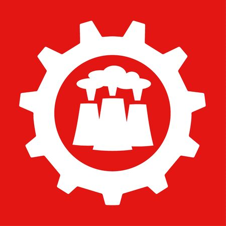Vector illustration of a gear or cog wheel with industrial chimney stacks at the centre in red and white
