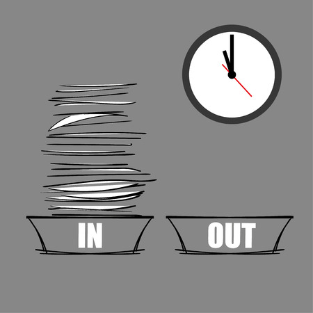 filing tray: Vector illustration of a full IN tray and an empty OUT tray underneath a modern wall clock as a concept for being overworked and under pressure