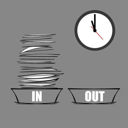 adentro y afuera: Vector ilustración de un completo en la bandeja y una bandeja de SALIDA vacío debajo de un reloj de pared moderna como un concepto de exceso de trabajo y bajo presión Vectores
