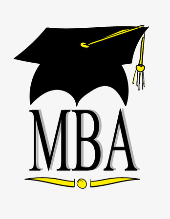 hat cap: Graduation cap or hat with tassel above the letters MBA, the abbreviation for Master of Business Administration