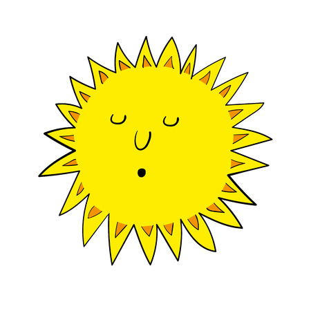 facial features: Stylized vector illustration of a bright yellow blazing sun with sun rays and relaxed facial features