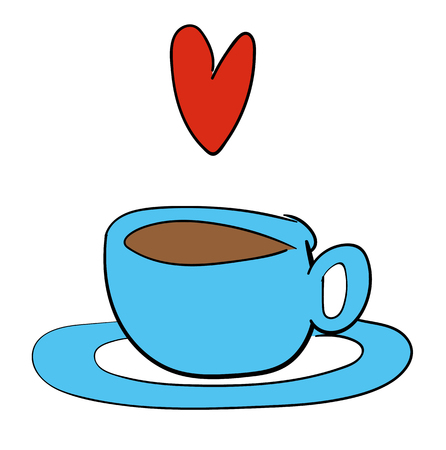 drink coffee: Vector illustration of a cup of tea or coffee in a blue cup and saucer with a red heart floating above it