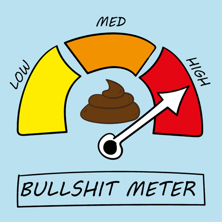 Vector illustration of a meter detecting levels of bullshit at low, medium or high