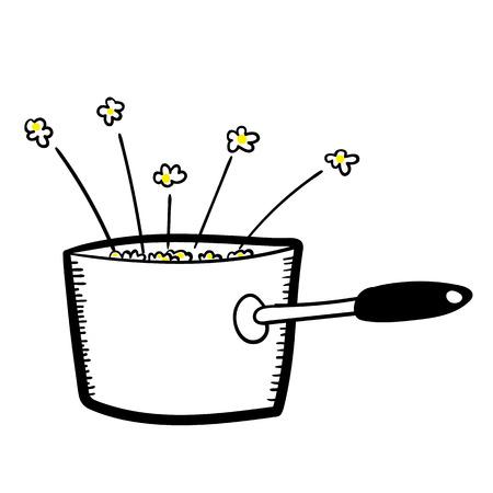 Ręcznie rysowane ilustracji wektorowych rondlu pełen świeżo gotowane i popcorn popping Ilustracje wektorowe