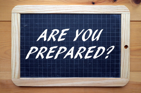 The question Are You Prepared? in white text on a blackboard as a reminder that preparation is everything Stock Photo