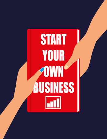 suggestions: Male and Female hands holding or passing a hardback book with the title Start Your Own Business on the front cover Illustration