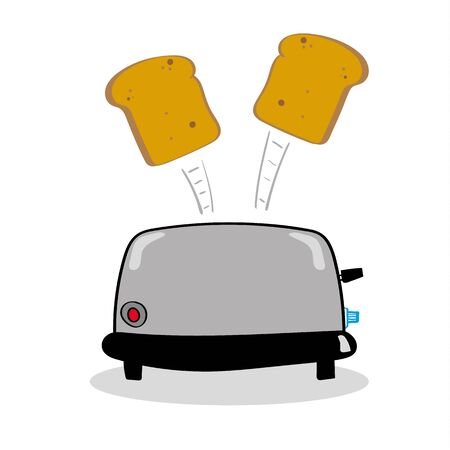 toasted bread: Standard kitchen toaster with two slices of toasted bread popping into the air