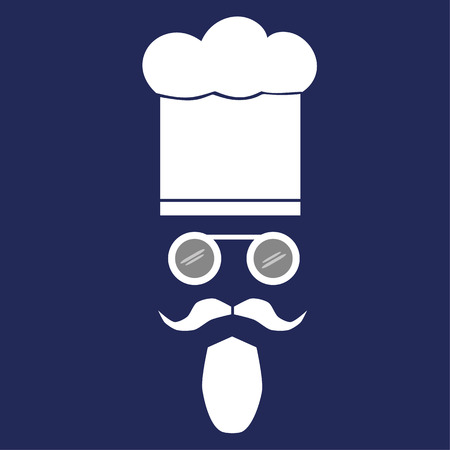 facial features: Facial features of a cook with moustache, beard and spectacles wearing a chef hat
