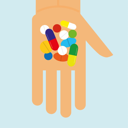 might: Stylized hand holding a variety of pills,tablets and capsules that might be narcotics or prescribed drugs