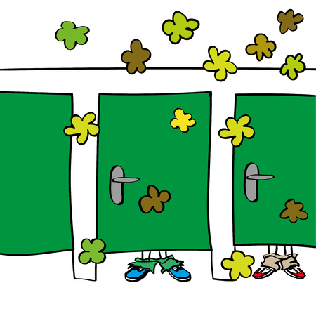 A rest room or communal toilet with people behind closed doors creating clouds of stinky smells and bad odours in the room by farting