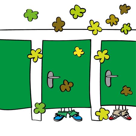 Una sala di riposo o di servizi igienici in comune con persone che stanno dietro porte chiuse che creano nuvole di odori puzzolenti e cattivi odori in sala da scoreggiare Vettoriali