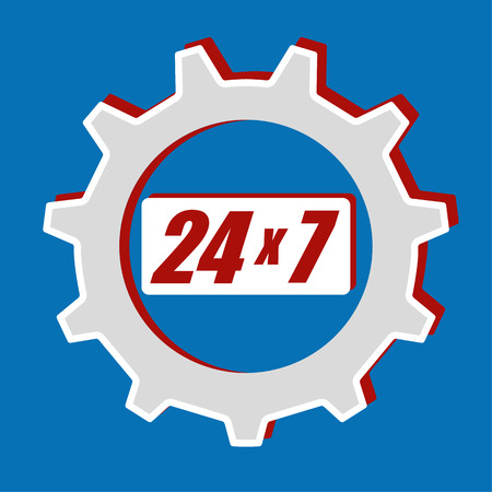twenty four hour: Cog or gear wheel with the numbers 24 x 7 in the middle as icon for providing a twenty four hour service for seven days a week Illustration