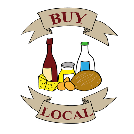 bread and wine: The words Buy Local on banners above and below a selection of food and produce including wine, bread, eggs, milk, cheese and honey Illustration