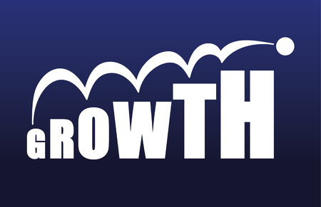 bigger: The word Growth with the letters increasing in size making the word bigger to symbolize a growing business