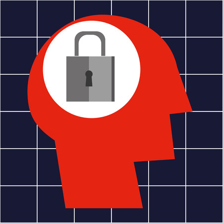 is closed: Stylized human head with a padlock in the area of the brain as a concept for mental health Illustration
