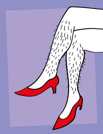 Een paar van de mannelijke of vrouwelijke harige benen gekruist en het dragen van rode hoge hakken Stock Illustratie